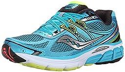 Saucony Women\'s Omni 14 Running Shoe, Blue/Black/Citron, 9.5 M US