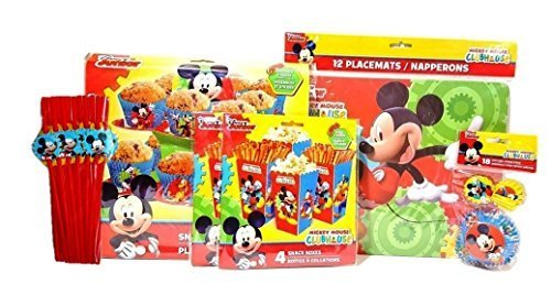 Disney Junior Mickey Mouse Clubhouse 5 Item Birthday Party Bundle - Includes Placemats, Snack Boxes, Cupcake Stand, Cupcake Combo Pack, Straws