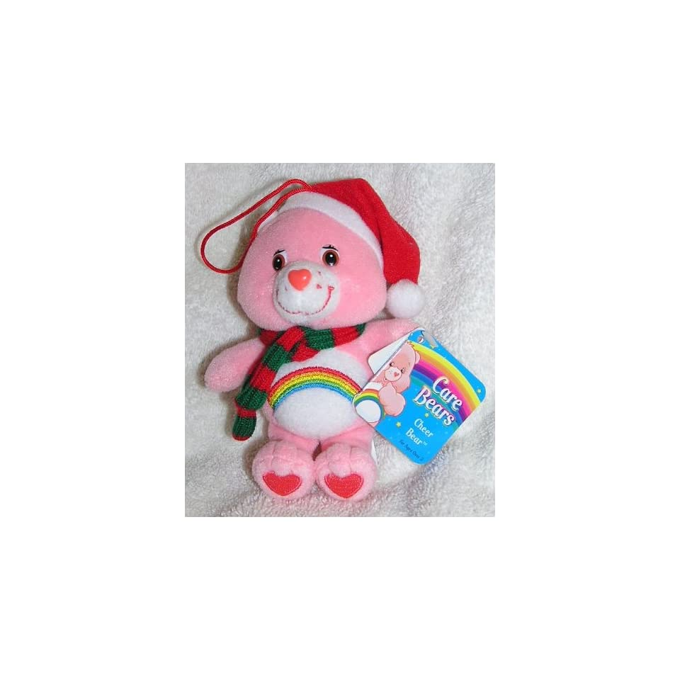 Care Bears 5 Plush Cheer Bear Christmas Ornament with Scarf and Santa Hat