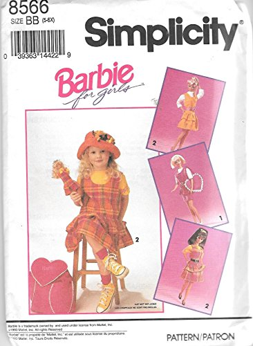 OOP Simplicity 8566 Barbie for Girls Jumper, Belt, Backpack and Matching Doll Clothes Sewing Pattern (Sewing Patterns Barbie compare prices)