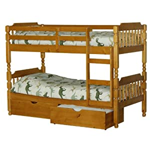 Spindle bunk bed with 2 drawers small single 2ft 6 amazon for Small single bed with drawers