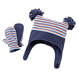 Jumping Beans Little Boys Fleece Hat & Mittens Set - One Size (2T-4T) - Blue Stripe