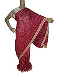 Beautiful RUDA Designer Phulkari Embroidered Saree-JS1126