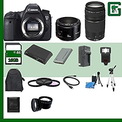 Canon EOS 6D Digital SLR Camera and Canon EF 75-300mm III Lens and Canon 50mm f/1.8 Lens + 16GB Green's Camera Package 2
