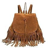 Cai- Valentine's Day Gift Women's Fringed BackpackTassel Shoulder Bag(Brown)