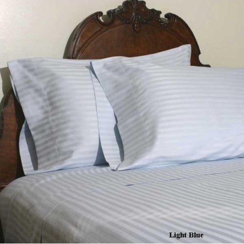 Stripes Blue 600 Thread Count Twin Extra Long Size Sheet Set 100 % Egyptian Cotton 3Pc Bed Sheet Set (Deep Pocket)600 Tc Twin Xl