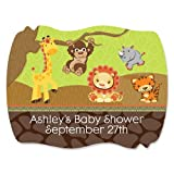 FunfariTM - Fun Safari Jungle - 16 Squiggle Personalized Baby Shower Sticker Labels
