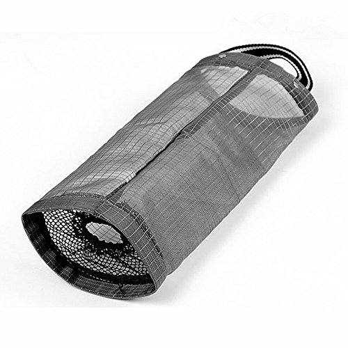 Plastic Bag Holder Dispenser ShineMe Hanging Storage Folding Mesh Garbage Bag Trash Bags Organizer Recycling Grocery Pocket Containers for Kitchen (Black) (Plastic Bag Dispenser Cloth compare prices)