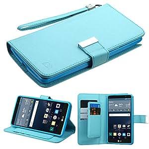 MyBat Wallet Case for LG LS770 (G Stylo) & Other LG Smartphones - Retail Packaging - Blue/Light Blue