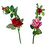 Thefancymart Artificial Rose Flower Plant Set Of 2 Sticks Style Code-86