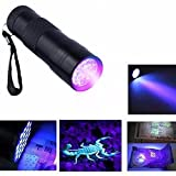 #8: Invisible Ink Marker 9LED UV Ultra Violet 3 AAA Battery Flashlight Torch Light-Black