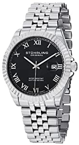 Stuhrling Original Men's 599G.02 Symphony Regent Coronet Swiss Quartz Date Black Dial Stainless Steel Bracelet Watch