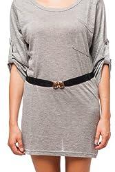 Sunny Belt Womens Black Stretch Jewel Buckle Belt Small