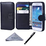 S4 Mini Case, Wisdompro Premium PU Leather 2-in-1 Protective Folio Wallet Case with Credit Card Holder/Slots for Samsung Galaxy S4 Mini(NOT S4 FIT) -Black w/o lanyard