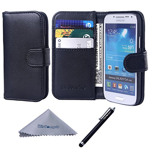 S4 Mini Case, Wisdompro Premium PU Leather 2-in-1 Protective [Folio Flip Wallet] Case with Credit Card Holder/Slots for Samsung Galaxy S4 Mini(NOT S4 FIT) -Black w/o lanyard (Samsung Galaxy S4 Mini Folio Case compare prices)