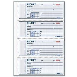 Rediform 8L809 Rent Receipts Book Carbonless 3 Part 2-3/4inx7in 100 Count