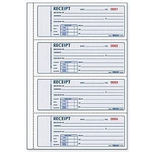Rediform Rent Receipt Book, 4 Per Page, Carbonless, 2.75 x 7 Inches, 100 Triplicates (8L809)