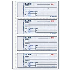 Rediform Rent Receipt Book, 4 Per Page, Carbonless, 2.75 x 7 Inches, 100 Triplicates (8L809)
