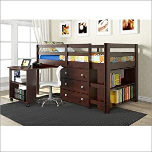 Twin Low Loft With Roll-Out Desk 3 Drawer Chest and Bookcase Cappuccino by Donco