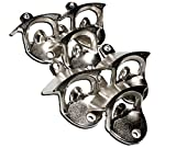 Six Wall Mount Bottle Openers in Brushed Chrome Silver - Bulk Lot Includes 12 Wood Mounting Screws - 6 Chrome Alloy Style Mounted Beer Bottle Cap Opener for Home Bartender