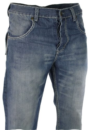 Mens Plain Stitch Work Jeans True Face Stone Wash Blue Straight Cut (34, blue)
