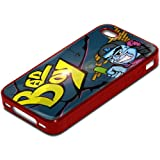 Graffiti 10059, Bad Boy, Red Silicone Hybrid Armor Case Cover Protector Shell Bumper Skin with Colourful Design for Apple iPhone 4 4S.