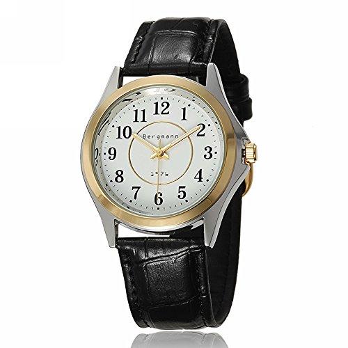 Bergmann Brand Business Classic Quartz Watch For Men Two-Tone Gold Bezel Leather Strap 1976
