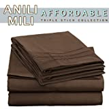 Anili Milis Triple Stitch Embroidery Affordable 4 PC Bed Sheet Set - Queen Size, Chocolate Brown