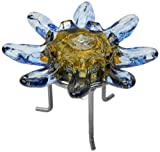 Kitras Art Glass Decorative Lotus Light Oil Lamp, Blue