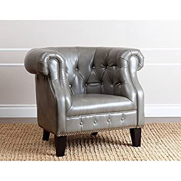 Midford Leather Nailhead Trim Armchair, Grey