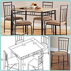 Dining Room Sets - Dining Chairs with Kitchen Dining Table Wood and Metal, 5-Piece Kitchen Table Set Tan/Natural, 4 Dining Chairs with simple yet modern design these will be the best dining chairs and dining table for perfect kitchen furniture finish