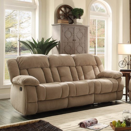 Homelegance Laurelton Double Reclining Sofa In Taupe Polyester front-1023890