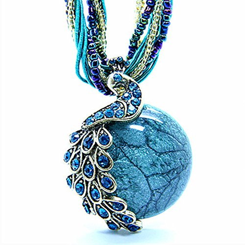 "Bluegrass Bohemia Cats-Eye Stone Peacock Pendant Necklace Blue,18.5"""