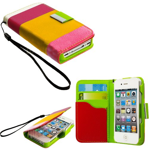 Mylife (Tm) Pink And Yellow Lemonade - Textured Koskin Faux Leather (Lanyard Strap + Card And Id Holder + Magnetic Detachable Closing) Slim Wallet For Iphone 4/4S (4G) 4Th Generation Touch Phone (External Rugged Synthetic Leather With Magnetic Clip + Inte