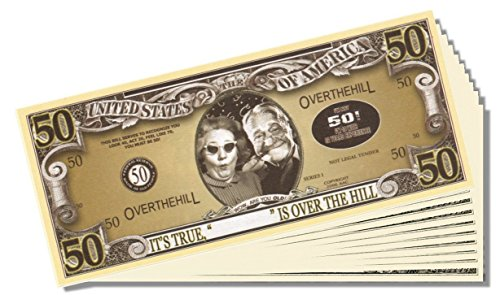Over the Hill (50 Years Old) Million Dollar Bill - 25 Count with Bonus Clear Protector & Christopher Columbus Bill