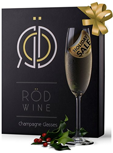RÖD Wine Best Gift Glassware Collection Lead Free Crystal Champagne Flutes Glasses (7.5-Ounce, Set of 3)