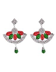 Dreamkart Drop Earrings With Red And Green Colored Beads