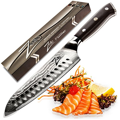 ZELITE INFINITY Santoku Knife 7 Inch. Best Quality Japanese VG10 Super Steel 67 Layer High Carbon Stainless Steel - Razor