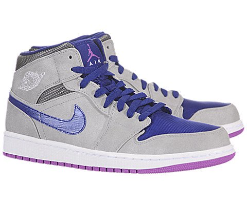 Nike Air Jordan 1 Mid Mens Basketball Shoes 554724-008 Matte Silver 12 M US