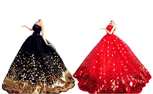 OurKosmos® Splendida partito Handmade abito Vestiti & abiti da sposa accessori bambola Doll-2PCS (Black &