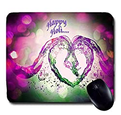 Awwsme Happy Holi Heart Formed With Water Mousepad