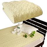 メーカー直販 水洗いキルト敷きパッド ベッドパッド 綿100%  汗をかいても肌にサラサラ シングル 100×205cm アイボリー
