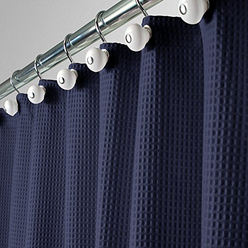 cotton blend fabric shower curtain 72 x 72 inch navy waffle new ebay