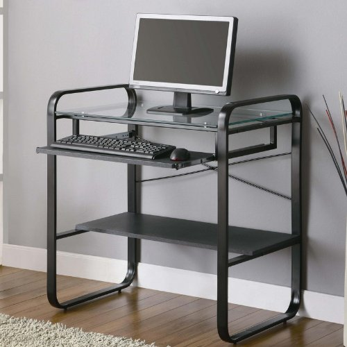 Buy Low Price Comfortable Metal Computer Desk with Glass Top in Black and Gray Finish (B0057POC3O)