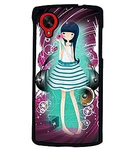 PRINTVISA Girl Listening music Premium Metallic Insert Back Case Cover for LG Nexus 5 - D5770