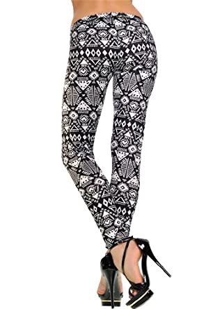 Amour- Women's Pattern Leggings Cotton Stretch Pants - Many Designs (White Aztec:White)