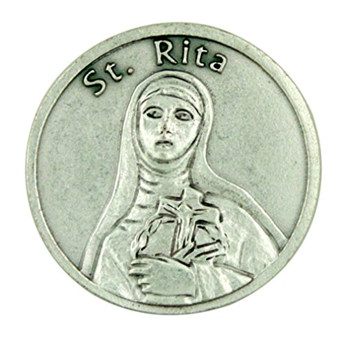 Patron Saint St Rita of Cascia Silver Tone Pocket Token with Forgiveness Prayer - 1
