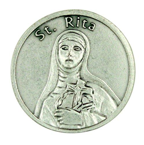 Patron Saint St Rita of Cascia Silver Tone Pocket Token with Forgiveness Prayer - 1