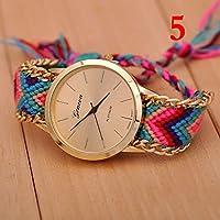 New Geneva Gold Dial Wool Knitted Alloy Chain Women Ladies Bracelet Watch Jewelry #5