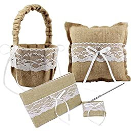 CheckMineOut Khaki Hessian Burlap Lace Flower Girls Baskets Square Bow Ring Pillow Guest Book & Pen Set Rustic Wedding Party Decoration Favors